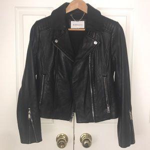 BCBG Black Genuine Leather Biker Jacket